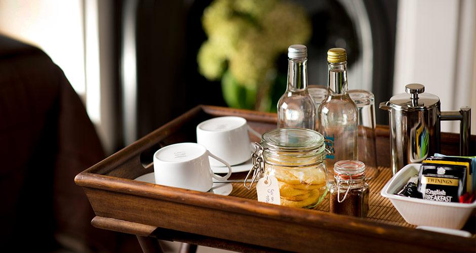 Hospitality tray in the bedroom